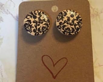 Wood Button Stud Earrings