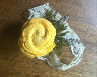 CUSTOM Sola Wood Twisted Flower Corsage