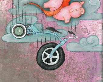 Fish off a Bicycle- A3 Print