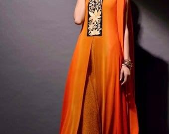 New Pakistani Indian Ethnic Dress Shalwar Kameez Salwar Suit 4 Piece Stitched Pakistani Chiffon Embroidered Shirt Kurta Kurti Dupatta