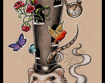 Ferret ORIGINAL Art Illustration Surreal Art Victorian Art Steampunk Art Ferret Owner Gift Ferret Lover Wall Decor Art Whimsical Art Fun Art