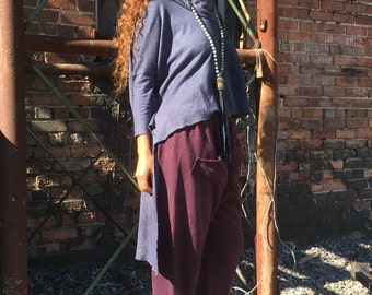Salvation Cowl neck Hi-Lo top with long sleeves in organic hemp jersey. Made to order. Hemp Clothing.