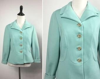 Aqua Blue Jacket - Light Pastel Blue Green, Robin Egg Blue Jacket - Lightweight Spring Jacket - Vintage 60s - Tan Buttons, Scalloped Seams