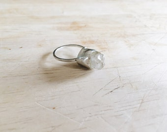 winter beauty - clear quartz crystal solitaire ring