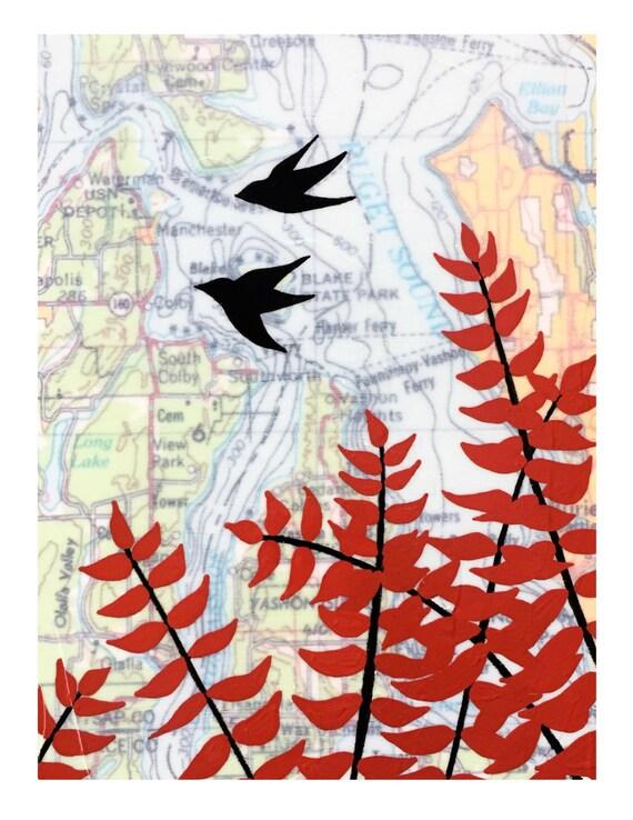 NEW // Vashon Island Card // Cute Everyday Card // Map Card // Washington Card // Love Bird Card // Blank Card // Rachel Austin Cards