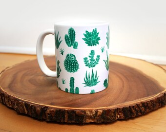 Green Cactus with White Mug