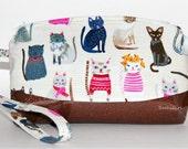 Cool Cats Wristlet Purse - Cat Clothes, Cat Purse, Cell Phone Purse, Makeup Bag, Glitter Vinyl, Organic Cotton Fabric, Tolietry Bag, Handbag