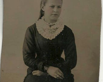 1/4 plate tintype teen angst serious victorian girl vintage photo tinted jet jewelry necklace bracelets young woman