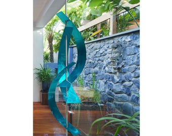 Extra Large Aqua Abstract Metal Sculpture, Indoor Outdoor Modern Metal Art, Garden Decor, Yard Art - Aqua Maritime Massive by Jon Allen
