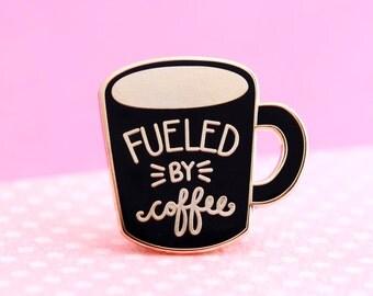 Coffee Enamel Pin - cute enamel mug pin   hat badge   hygge pin