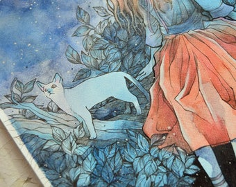 Watercolor Illustration - Underneath the Stars - Cats - Forest - Mori Girl - ORIGINAL Ink and Watercolor Illustration