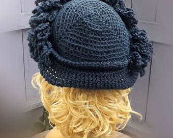 Gift for Women, Dark Country Blue Crochet Hat, Blue Womens Hat Trendy, Blue Hat LINDA 1920s Cloche Hat, Blue Cloche Hat