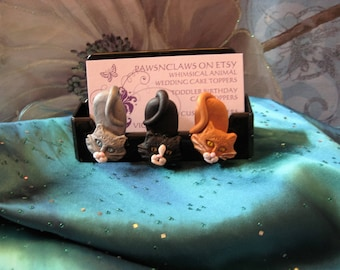 Cats BuTTs or Dogs BuTTs business, cell phone display, card holder, handmade, clay, I phone, vet, kitty, felines, rescue