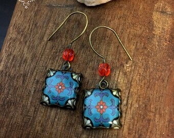Craftsman style house tile earrings, Mission, Catalina Drop earrings, California Pottery design jewelry, Boho jewelry, Gypsy jewelry
