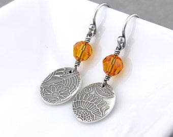 Tangerine Crystal Earrings Silver Drop Earrings Crystal Dangle Earrings Small Dangle Earrings Simple Jewelry Gift Under 50 - Tracey