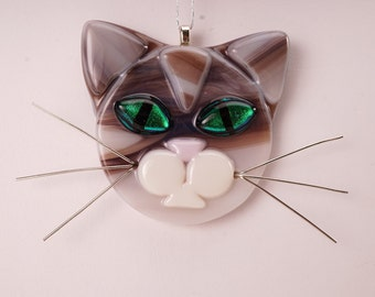 Chocolate stripes cat, cat glass ornament, cat lover, brown cat
