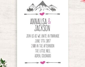 Mountain love wedding invitation suite / arrow heart / printable invitation / seasonal wedding / print at home