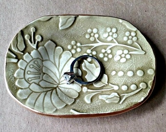 Ceramic Ring Dish Sage Green Cherry Bloosoms edged in gold