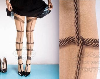 Tattoo Tights - Bondage nude color one size full length printed tights closed toe pantyhose , BDSM goth nylons by tattoo socks