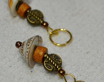 NEW Fun Stitch Markers - Dress Up Your Knitting! Shell Bead and Bronze Bead - Fits up to size 9 US needle