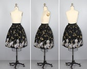 novelty print / vintage skirt / 1950s / PUPPY TIME cotton skirt