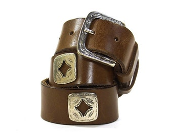 80s Leather Belt with Silver Conchos / Vintage 1980s Brown Western Rocker Biker Boho Southwest Hippie Belt / Native American Inspired Studs