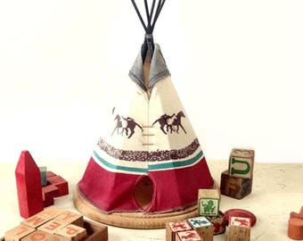 On hold Vintage Teepee, Large Homemade Tee Pee, Lodge Home or Tribal Party Table Display, Western Frontier Children's Room Decor