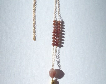 Chocolate Moonstone Gold Necklace