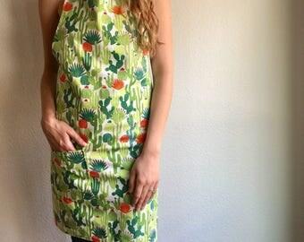 Womens Apron Full Apron Cactus Succulent Print