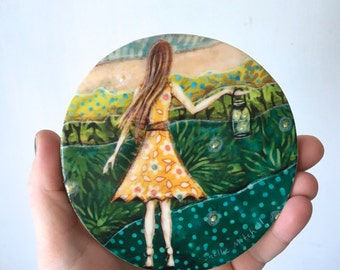 Rustic home decor, stocking stuffer, nursery art, fireflies, gift for her,  shellieartist, one of a kind, Mounted Print, round wood slice