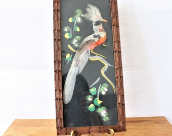 Vintage Mexican Feather Art, Vintage Mexican Folk Art, Bird Painting with Real Feathers, Hand Carved Frame, Mid Century Art, Mcm Art