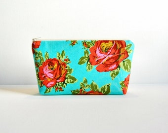 Zipper Pouch, Makeup Bag, Cosmetic Case, Women and Teens, Rose Lore in Sky, Amy Butler Eternal Sunshine