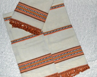 RETRO RAGE - Vintage 70's Cream Cafe Curtains & Valance - 1 Pair - Orange Brown Tan Loopy Trim