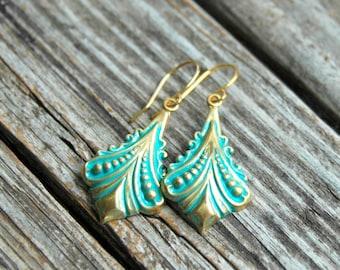 Mint Gold Earrings . Summer Party Summer Outdoors . Best Friend Birthday Gift . Bohemian Earrings . Dangle Earrings . Boho Jewelry