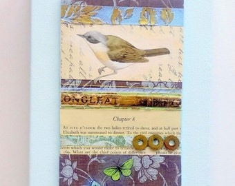 Bird + butterflies original altered mixed media art collage on small canvas. Pale duck egg blue + browns
