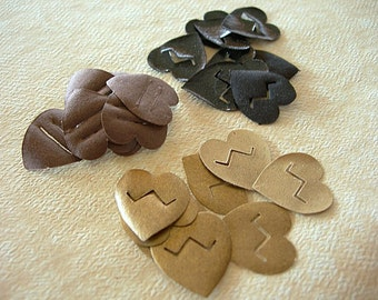 HEART Shaped Antique Art Deco PHOTO CORNERS for Scrap-booking Albums lot of 24 Gold Brown and Black