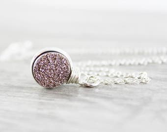 Rose Gold Druzy Necklace, Druzy Gemstone Necklace, Circle Pendant Necklace, Sterling Silver Necklace, Wire Wrap, Drusy Pendant Necklace