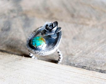Turquoise +  Succulent Ring / Modern Jewelry