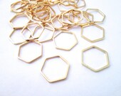 6 Gold Plated Hexagon Connectors, Gold Hexagon Charms, F218