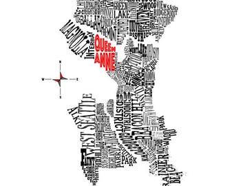 "Customizable-Seattle Neighborhood Map 11 x 14"" Print"