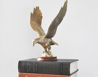 "Vintage Brass Eagle Figurine - 9.5"" flying bird statuette with outspread wings on round wooden base - office man cave home decor"