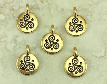 Triple Spiral Stamp charm > Celtic Triskele Irish Ireland St Patricks Day - 22kt Gold Plated Lead Free pewter I ship Internationally 2508