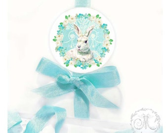 """Easter bunny rabbit stickers, glossy, round, 2.25"""" diameter, set of 4"""