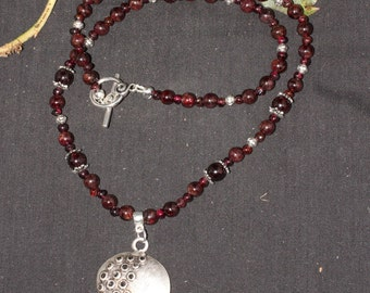 Pomegranate and Garnet Ritual Necklace for Persephone - Pagan, Wicca, Goddess, Kore - Greek Goodess