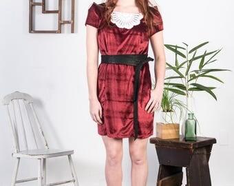 Ritzgerald Dress SMALL-MEDIUM stretch, Crimson Velvet, Vintage, Crochet Doily, rework, one of a kind, handmade, eco friendly, formal