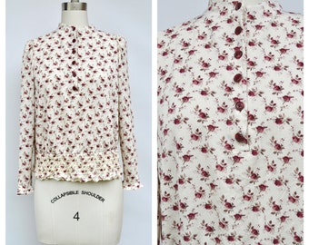 tiny floral high collar VICTORIAN style top / medium