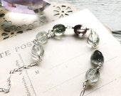 F l o a t...Phantom quartz necklace, lodolite, moonstone, boho, chakra, healing, layering necklace, sterling silver, Moss FREE SHIPPING
