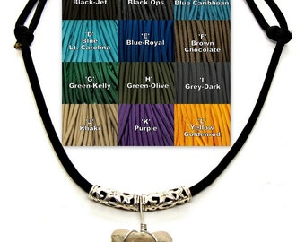 Surfer SUP Fossil Shark Tooth Necklace Adjustable Paracord Sized for Youth to Adults Choice of 12 Solid Colors 7196S