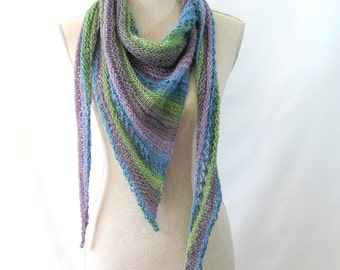 Merino Mohair Skinny Triangle Shawl Style Scarf Neckwrap with Beads  -  Blue, Green and Lavender Mochi