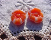 Vibrant Tangerine and White Pansy Flower Vintage Glass Beads